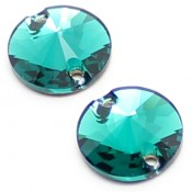 Sew-on Stones Swarovski (Пришивные кристаллы Сваровски) Риволи нашивные цвет Emerald (Зеленый)